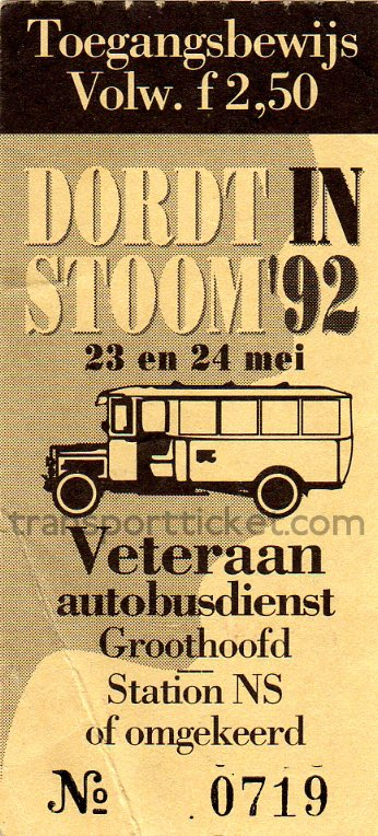 'Dordt in Stoom' entrance ticket and SVA bus ticket (1992)
