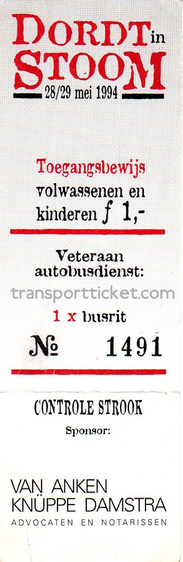 'Dordt in Stoom' entrance ticket and SVA bus ticket (1994)