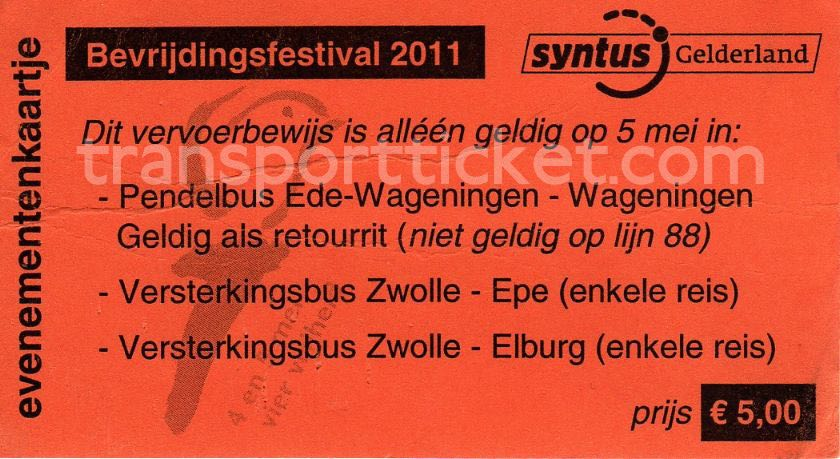 Syntus bus ticket liberation festival (2011)