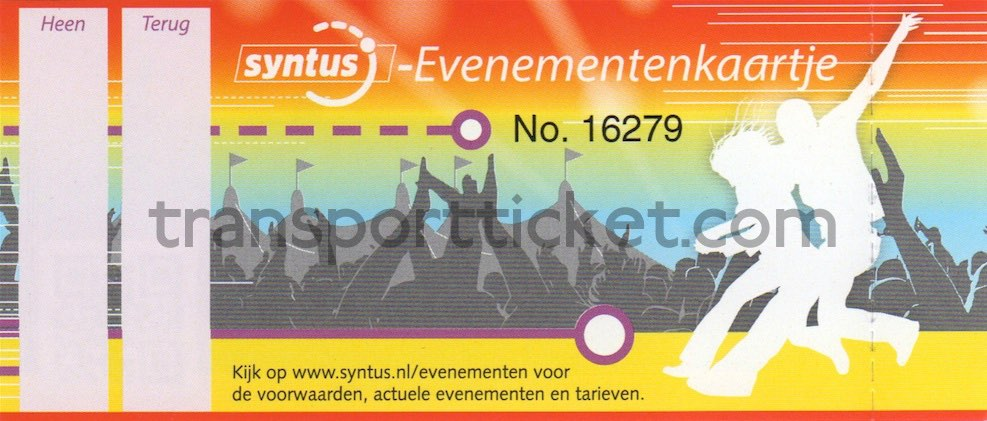 Syntus bus ticket for events, fare depends on the event