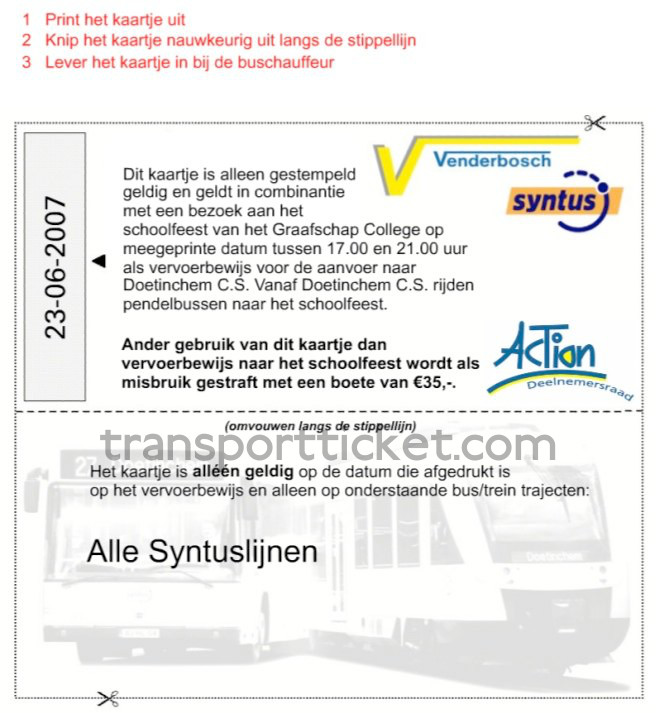 free transport ticket to a school party of Graafschap College (2007)