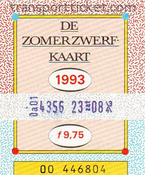 Zomerzwerfkaart, reduced fare (1993)