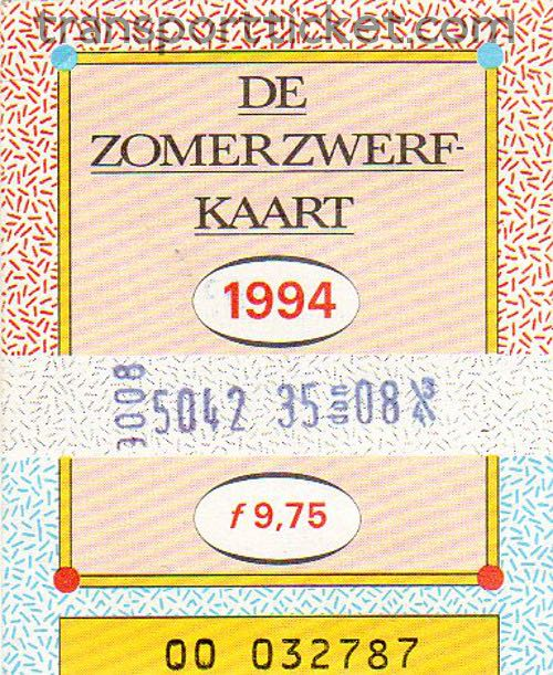 Zomerzwerfkaart, reduced fare (1994)