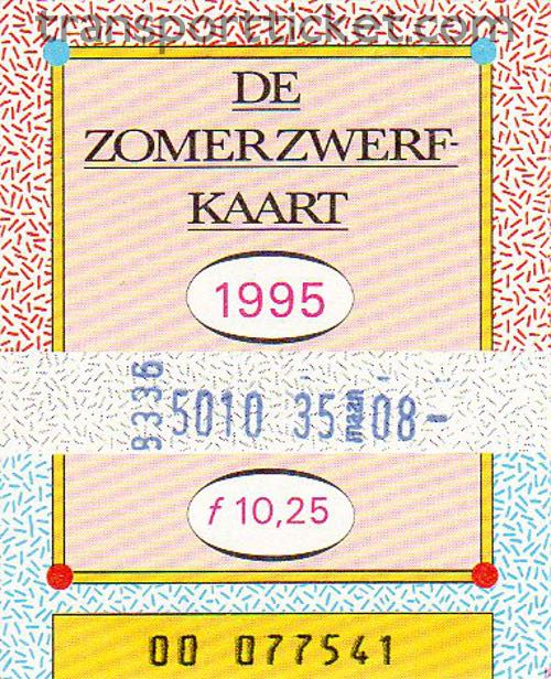 Zomerzwerfkaart, reduced fare (1995)