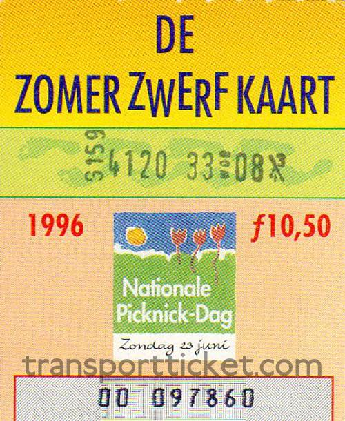 Zomerzwerfkaart, reduced fare (1996)