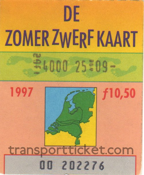 Zomerzwerfkaart, reduced fare (1997)