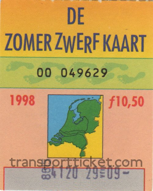 Zomerzwerfkaart, reduced fare (1998)