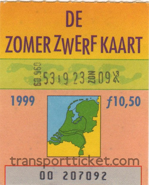 Zomerzwerfkaart, reduced fare (1999)