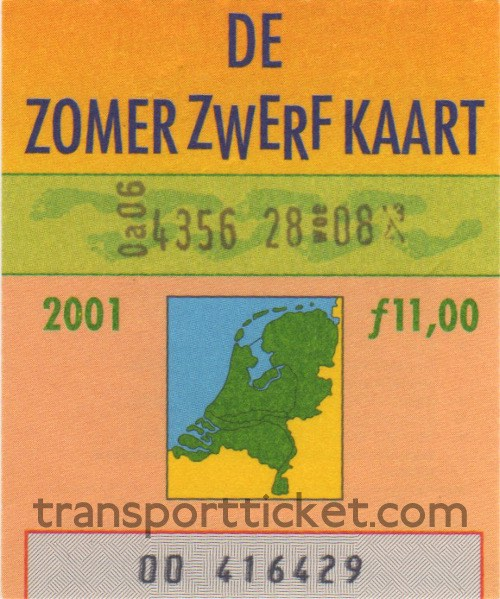 Zomerzwerfkaart, reduced fare (2001)