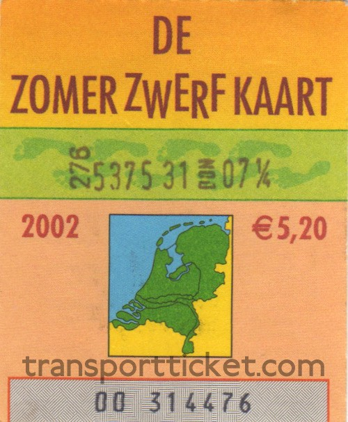 Zomerzwerfkaart, reduced fare (2002)