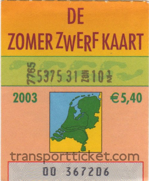 Zomerzwerfkaart, reduced fare (2003)