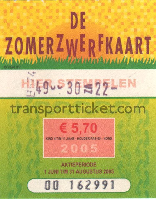 Zomerzwerfkaart, reduced fare (2005)
