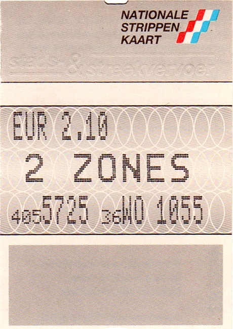 2-strip ticket, ticket machine GVB