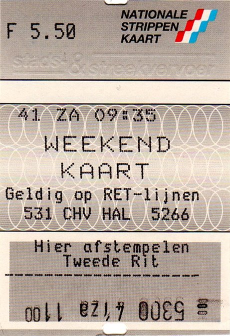 weekendkaart, ticket machine RET